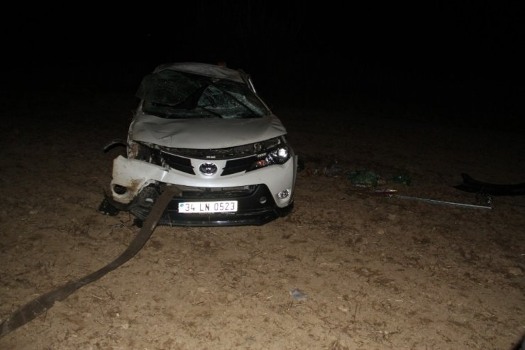Konya'da otomobil tarlaya devrildi: 4 yaralı